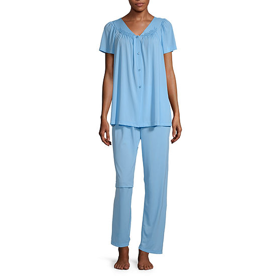Collette By Miss Elaine Womens Pant Pajama Set 2-pc. Short Sleeve