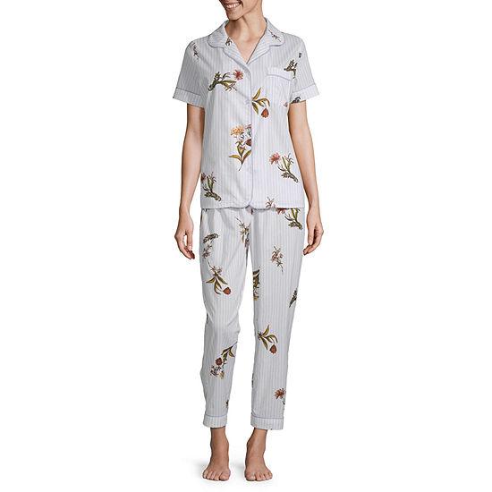 Liz Claiborne Womens Notch Collar Pajama Set