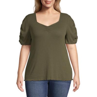 a.n.a-Womens Sweetheart Neck Short Sleeve T-Shirt - Plus