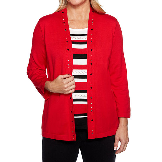 Alfred Dunner Grand Boulevard Womens Crew Neck 3/4 Sleeve Layered Sweaters
