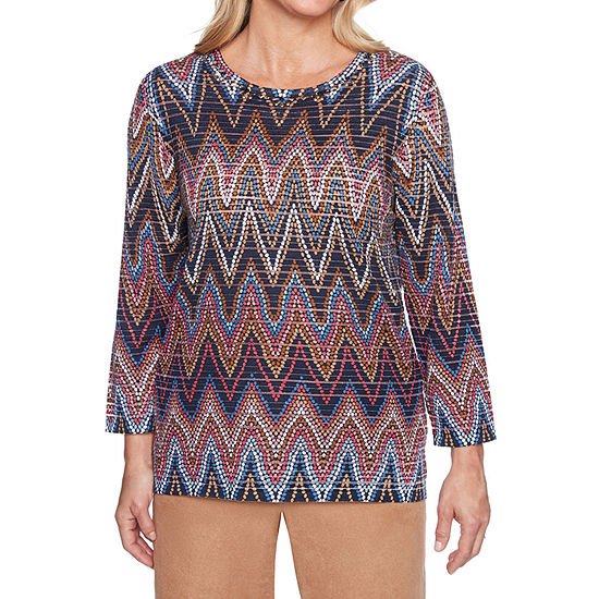 Alfred Dunner New Flash Womens Round Neck 3/4 Sleeve Chevron Pullover Sweater