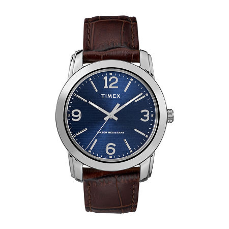 Timex Mens Brown Leather Strap Watch Tw2r86800jt, One Size