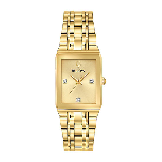 Bulova Quadra Womens Gold Tone Stainless Steel Bracelet Watch-97p140