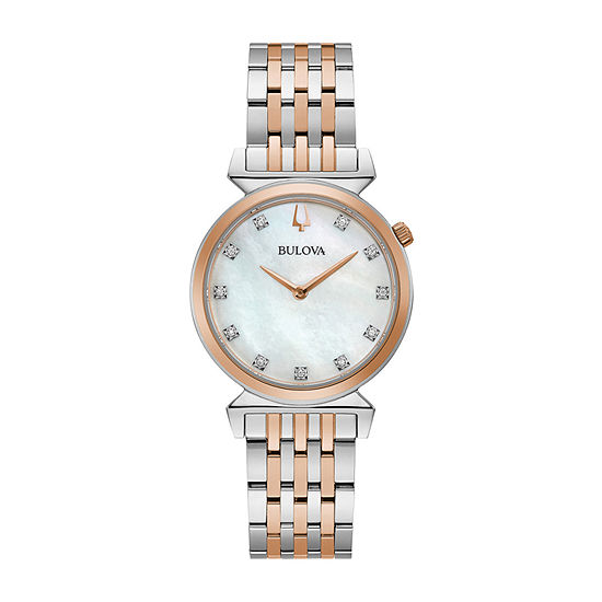 Bulova Regatta Womens Diamond Accent Two Tone Stainless Steel Bracelet Watch-98p192