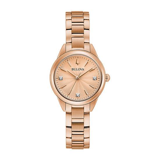 Bulova Sutton Womens Rose Goldtone Stainless Steel Bracelet Watch-97p151