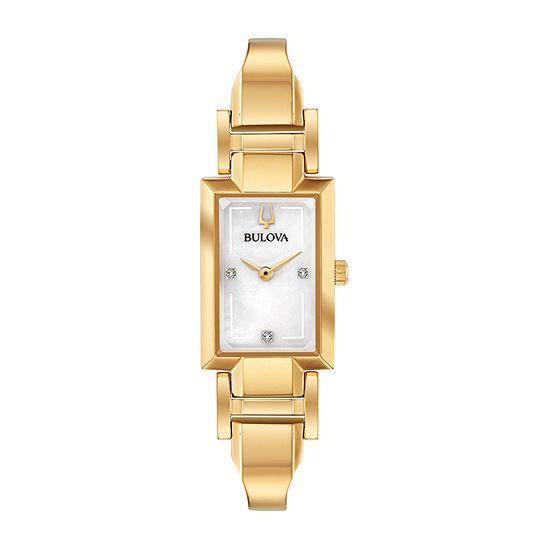 Bulova Classic Womens Gold Tone Stainless Steel Bangle Watch-97p141