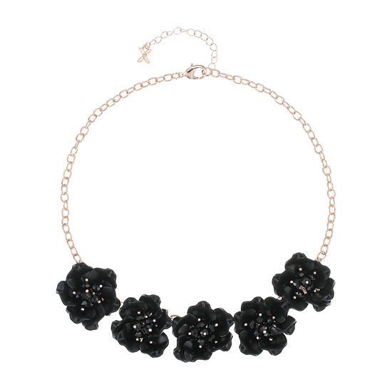 Mixit Black Flower 17 Inch Cable Collar Necklace