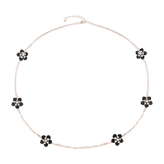 Mixit Black Flower 34 Inch Cable Strand Necklace