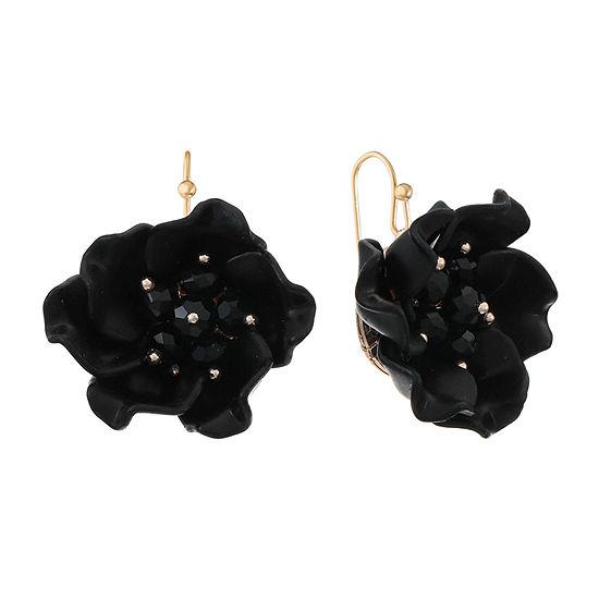 Mixit Black Flower Drop Earrings
