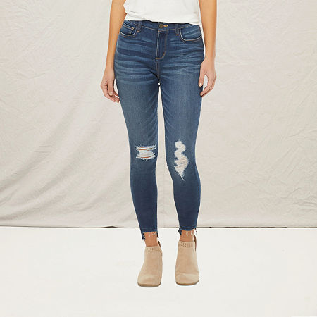 a.n.a Womens High Rise Ripped Jegging, 18 Petite , Blue