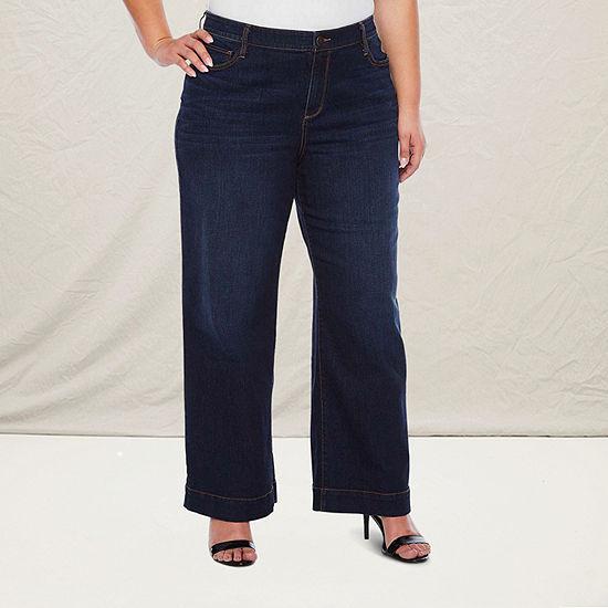a.n.a - Plus Womens High Rise Wide Leg Trouser Jean