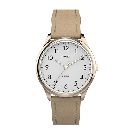 Timex Womens Rose Goldtone Leather Strap Watch-Tw2t72400jt