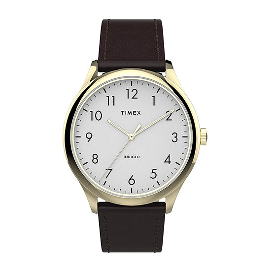 Timex Mens Gold Tone Leather Strap Watch-Tw2t71600jt