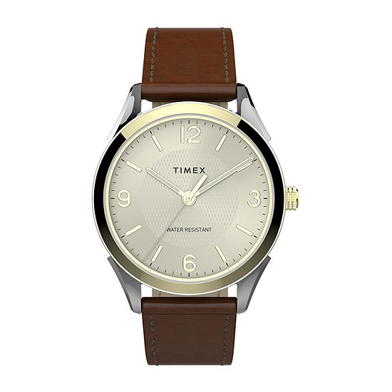 Timex Mens Gold Tone Leather Strap Watch-Tw2t67000jt
