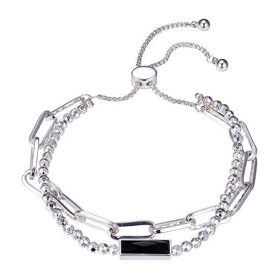 Footnotes Carded Black Onyx Rectangular Bolo Bracelet