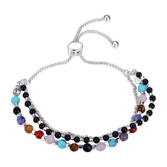 Footnotes Carded Multi Color Onyx Round Bolo Bracelet
