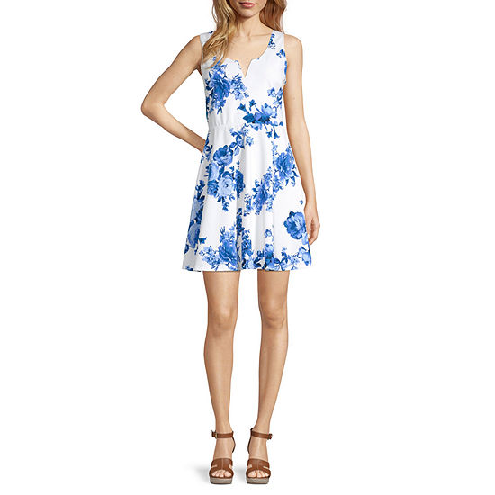 Trixxi-Juniors Sleeveless Floral Fit & Flare Dress