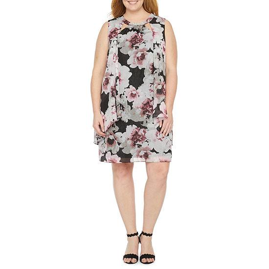S. L. Fashions-Plus Sleeveless Beaded Floral Shift Dress