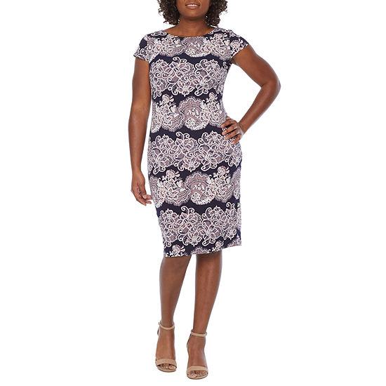 Ronni Nicole-Petite Short Sleeve Scroll Puff Print Sheath Dress