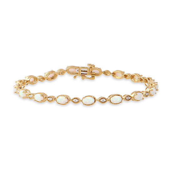 Diamond Accent Lab Created White Opal 10K Gold Over Silver 7 Inch Tennis Bracelet