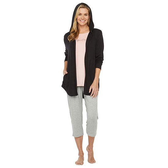 Ambrielle Womens French Terry Pajama Top Hooded Neck