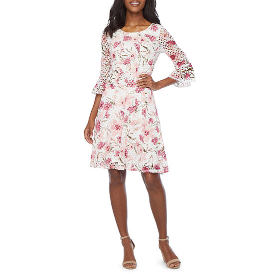 Rabbit Rabbit Rabbit Design 3/4 Bell Sleeve Floral Lace Fit & Flare Dress