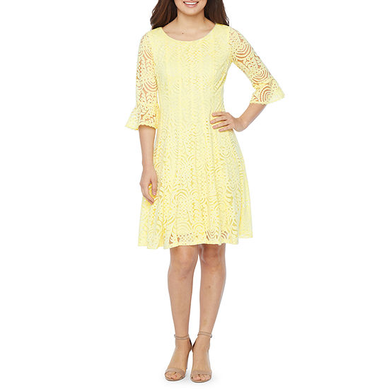Rabbit Rabbit Rabbit Design 3/4 Bell Sleeve Abstract Lace Fit & Flare Dress