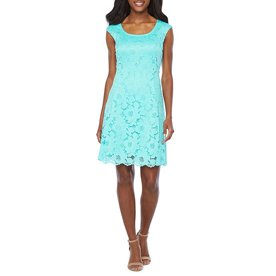 Ronni Nicole Sleeveless Floral Lace Fit & Flare Dress