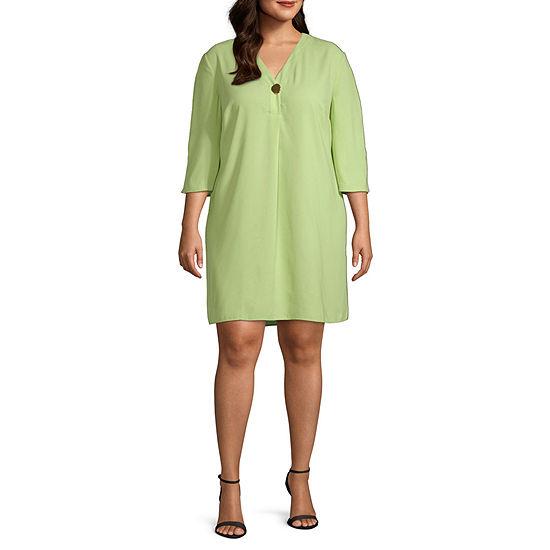 Worthington Womens 3/4 Sleeve V Neck Tunic Dress - Plus