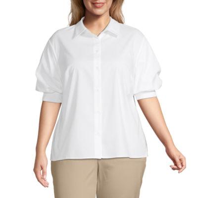 Worthington Womens Short Sleeve Poplin Blouse - Plus