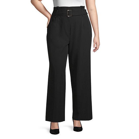 Worthington Womens Inverted Box Pleat Trouser - Plus