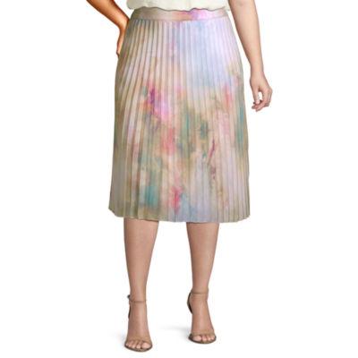 Worthington Womens High Waisted Midi Pleated Skirt - Plus