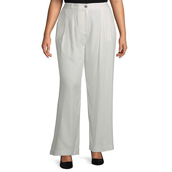 Worthington Womens Pleated Wide Leg Trouser - Plus