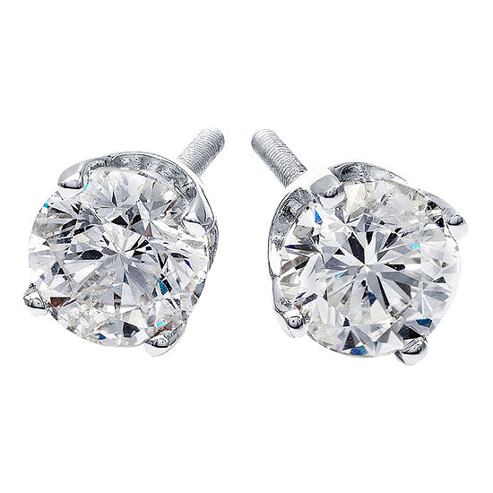 1/2 CT. T.W. Round Genuine Diamond Stud Earrings
