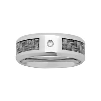 Mens Diamond-Accent Wedding Band in Stainless Steel