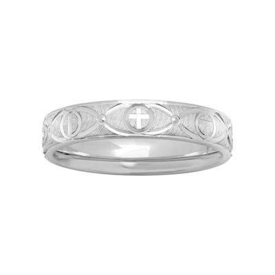 Womens Sterling Silver Ridged Cross Band
