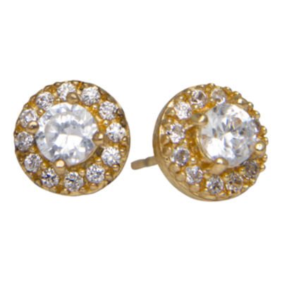 Cubic Zirconia Cluster Stud Earrings 14K Gold Over Sterling Silver