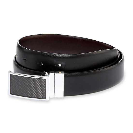 J.F. J. Ferrar® Graphic Plaque Buckle Reversible Leather Belt