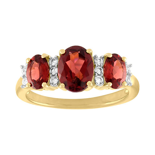Womens Genuine Red Garnet Gold Over Silver 3-Stone Ring