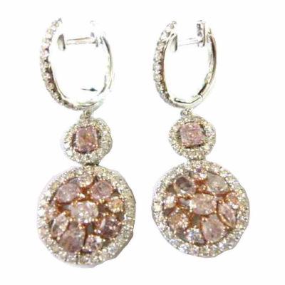3 CT. T.W. Genuine Pink Diamond 18K Gold Drop Earrings