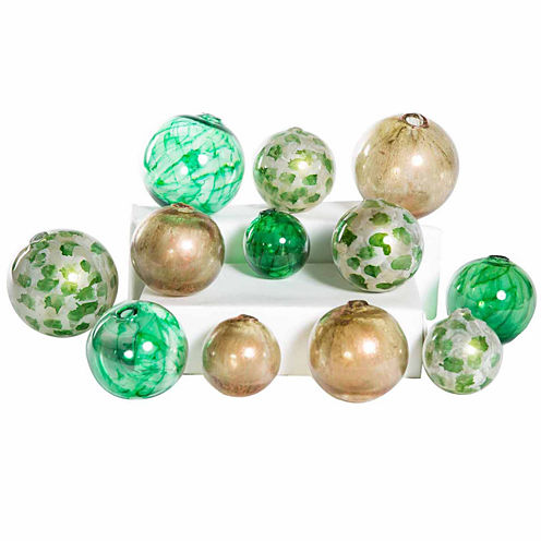 Knox And Harrison 12pc Green And Gold Spheres Decorative Balls