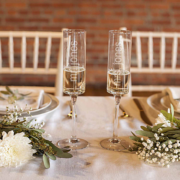 Cathy's Concepts Set of 2 Personalized Etched Glass Champagne Flutes