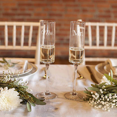 Cathy's Concepts Mr. & Mrs. Set of 2 Contemporary Champagne Flutes