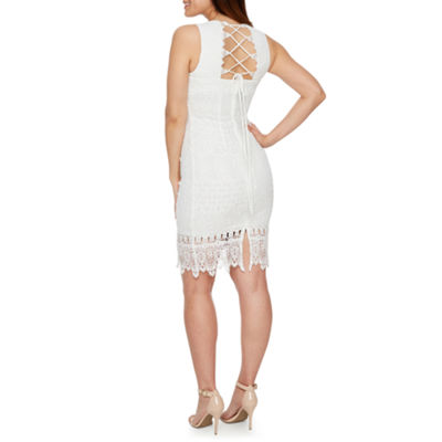 Premier Amour Sleeveless Lace Sheath Dress