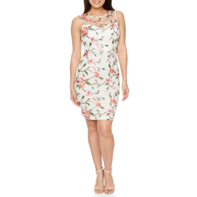 Premier Amour Sleeveless Embroidered Shift Dress