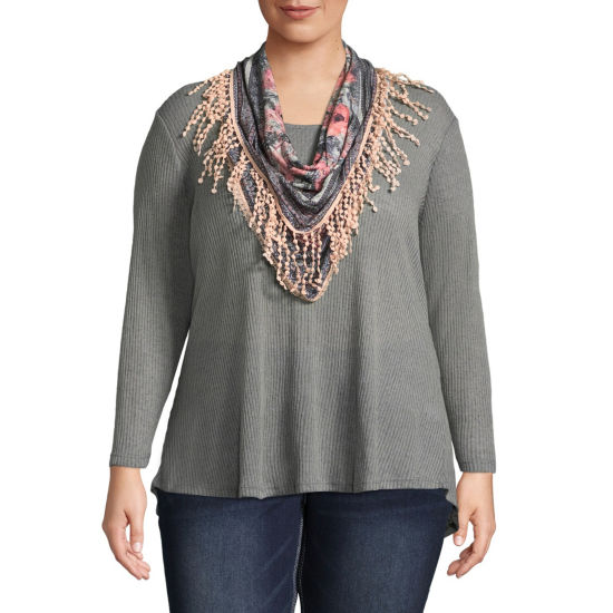 Unity World Wear Long Sleeve Tee with Printed Scarf - Plus