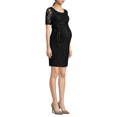 Planet Motherhood Half Sleeve Lace Dress with Bow Belt - Maternity