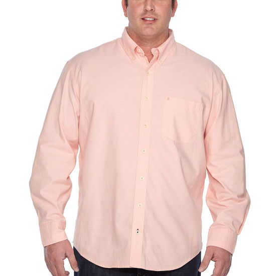 IZOD® Saltwater Newport Oxford Long Sleeve Button-Front Shirt-Big and Tall