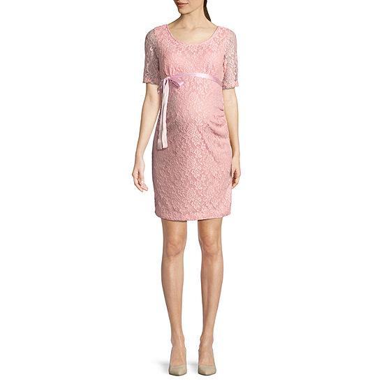 Planet Motherhood Elbow Sleeve Scoop Neck Lace Dress - Maternity