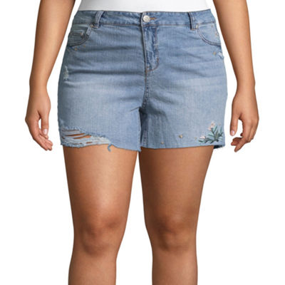 "Almost Famous Womens High Waisted 5"" Denim Short-Juniors Plus"
